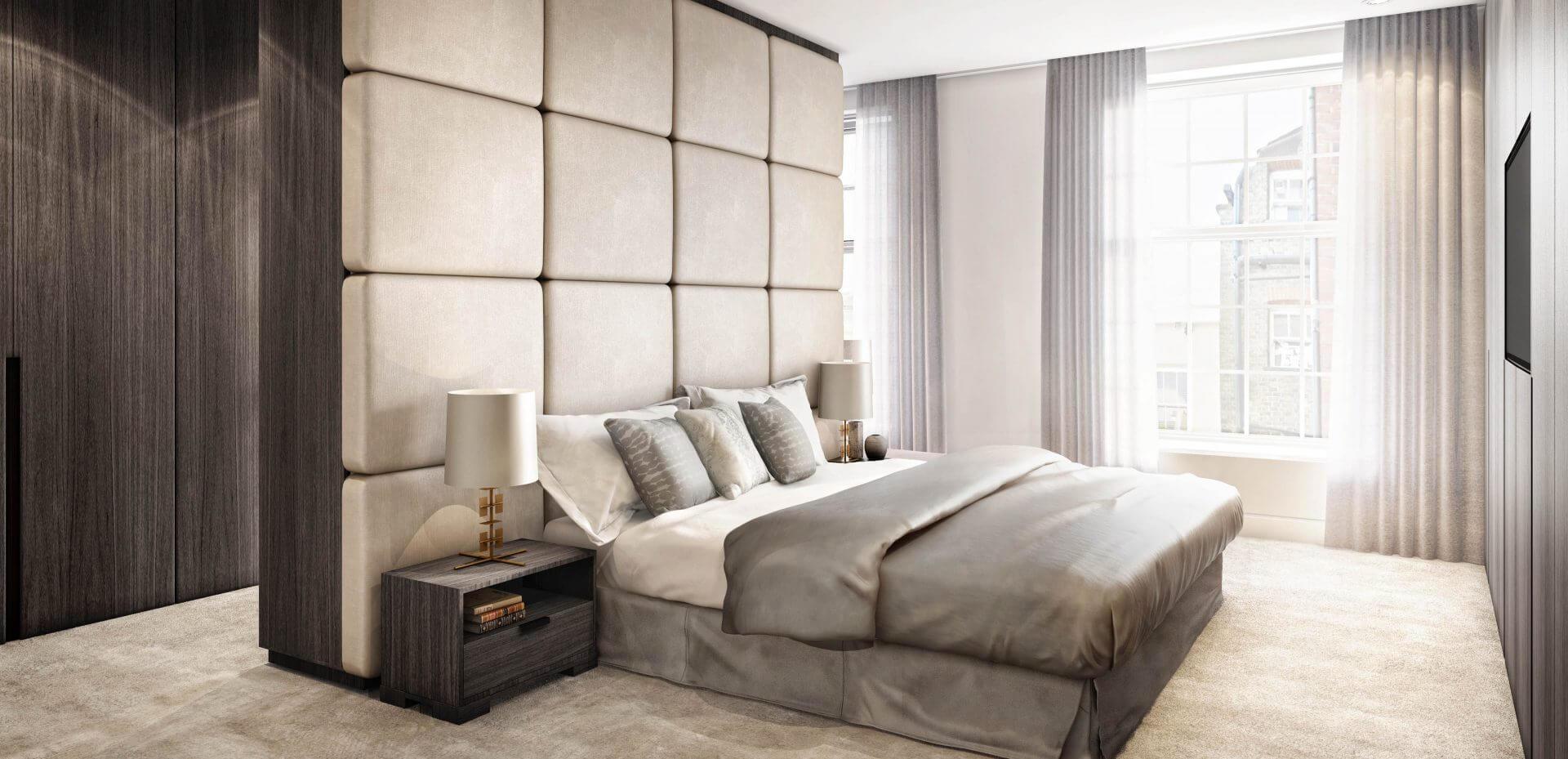 London penthouse master bedroom visualisation for Devonshire Properties