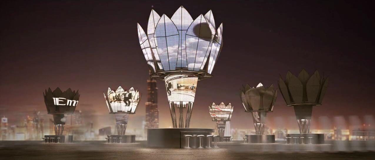 Dubai solar power marketing timelapse animation