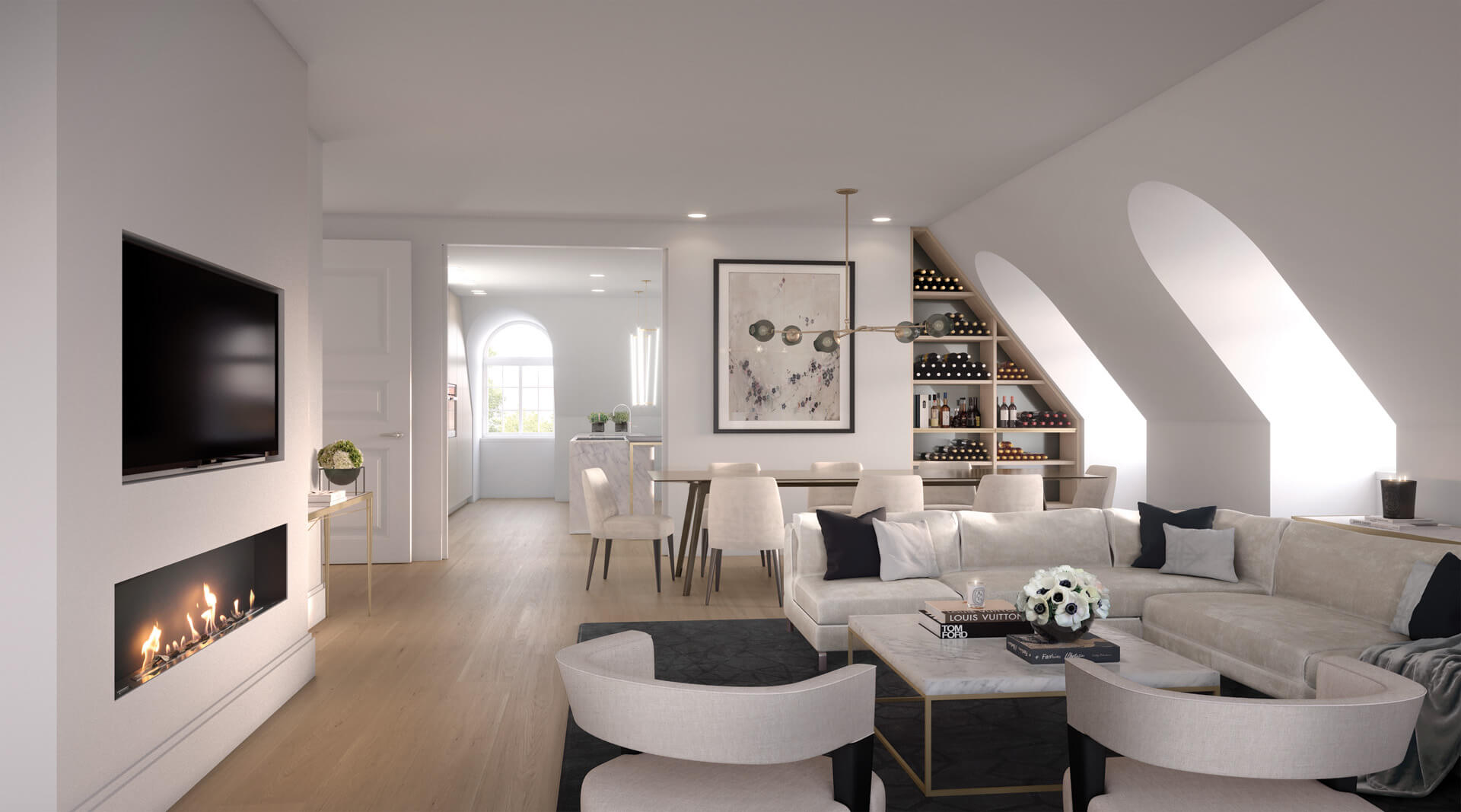 Living room CGI for The Birchwood in Ealing