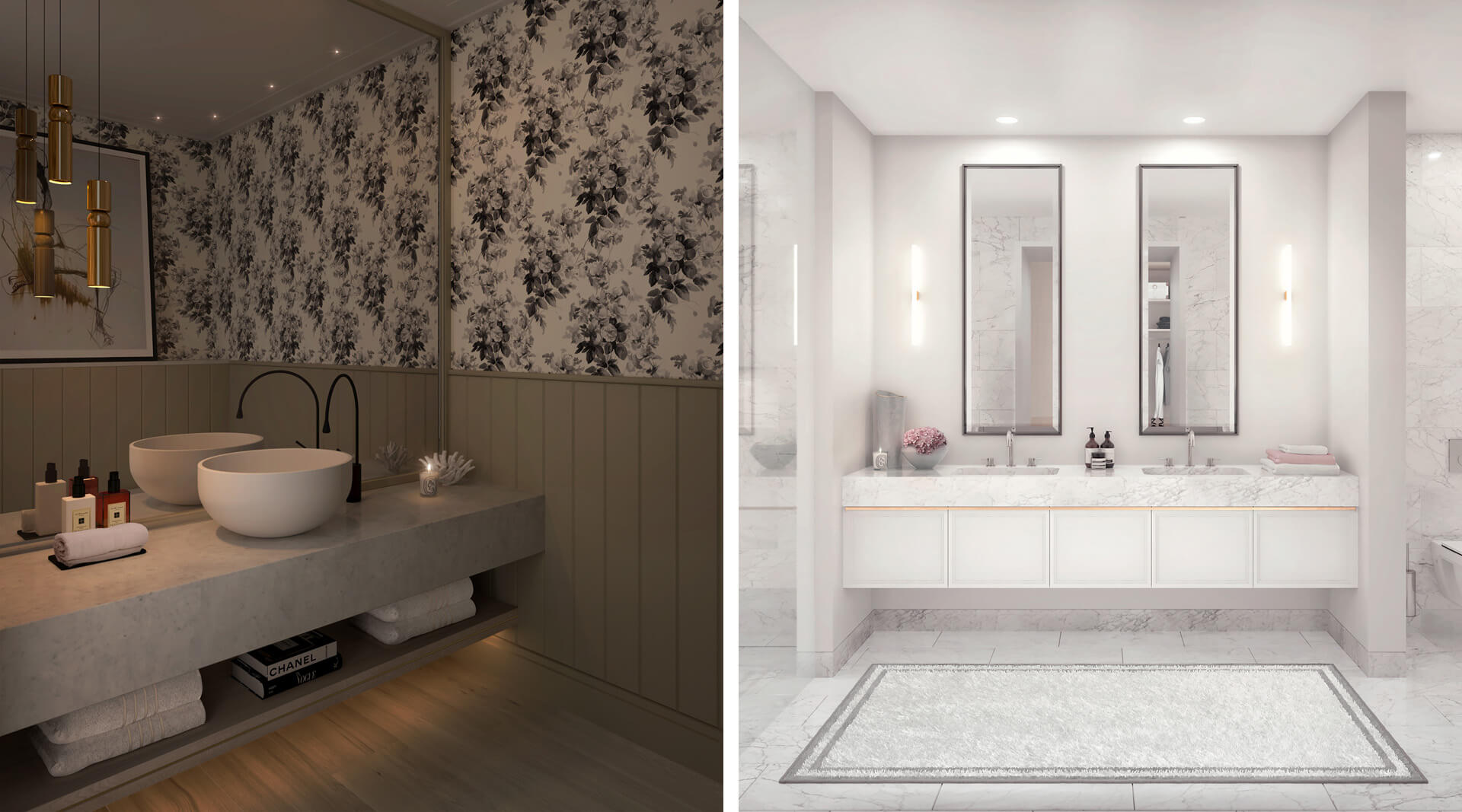 Bath and powder room CGIs for The Birchwood in Ealing