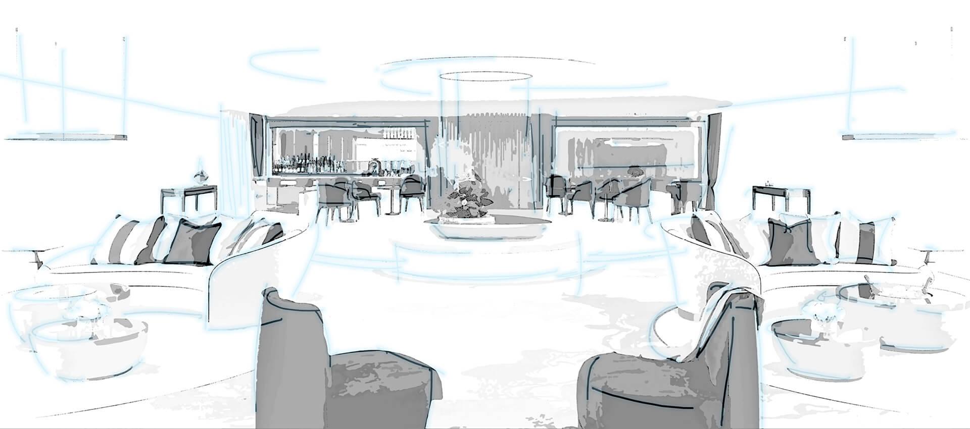 Sanders Studios_Serene Superyacht Visualisation_Interior Saloon Sketch