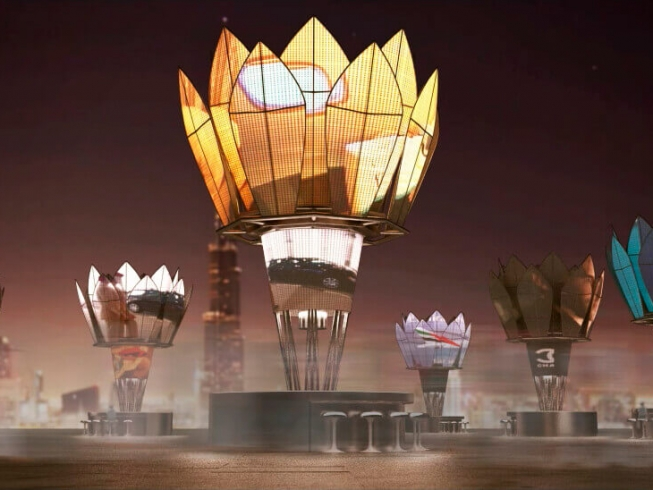 Dubai Solar Kiosks | Solar powered information and advertising kiosks inspired by the shape of flower petals