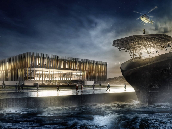 Fosnavåg | Competition winning, stylised illustrations of Olympic Shipping's new HQ